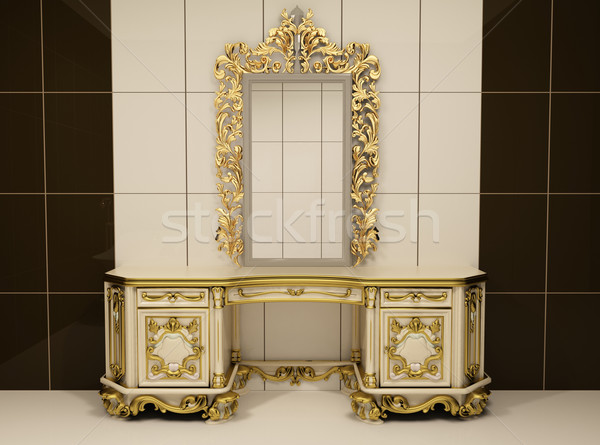 Stock photo: Baroque gold mirror with royal chest