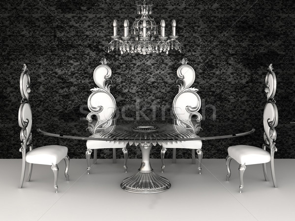 Baroque furniture. Chairs with round table in dinner interior. Stock photo © Victoria_Andreas