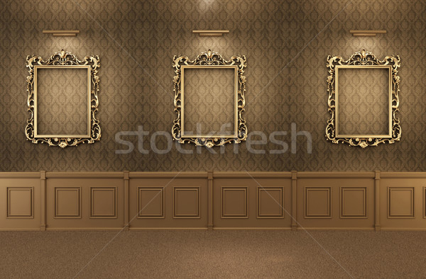 Luxurious Gallery Interior with empty frames on wall. Wooden Stock photo © Victoria_Andreas