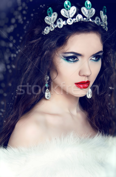 Queen. Winter Girl in Luxury Fur Coat Stock photo © Victoria_Andreas