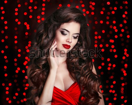 Long wavy Hair. Makeup. Beautiful Woman with chaplet of roses. B Stock photo © Victoria_Andreas