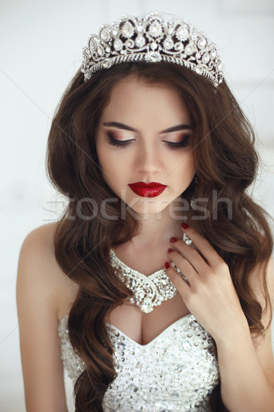 Beautiful Bride portrait. Makeup. Wavy hair. Healthy long hairst Stock photo © Victoria_Andreas