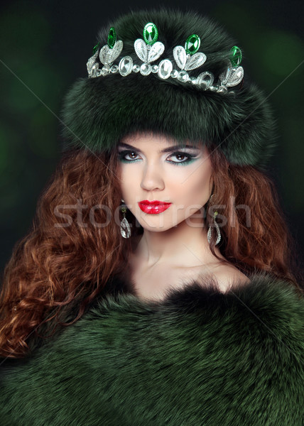 Beautiful brunette woman in mink fur coat. Jewelry. Fashion Beau Stock photo © Victoria_Andreas