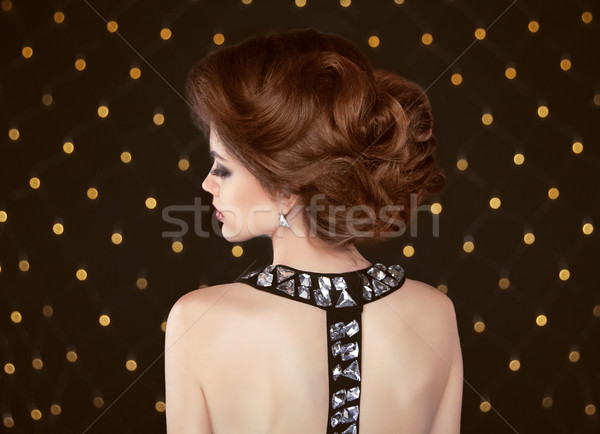Brown hair. Beautiful elegant woman with hairstyle. Fashion girl Stock photo © Victoria_Andreas