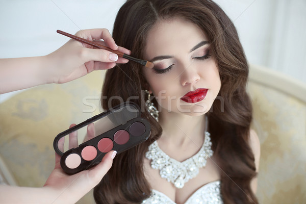 Beautiful bride wedding with makeup and curly hairstyle. Stylist Stock photo © Victoria_Andreas