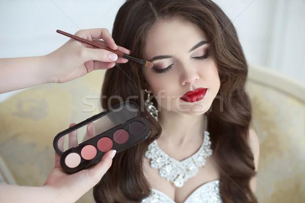 Stock fotó: Gyönyörű · menyasszony · esküvő · smink · fürtös · hajviselet