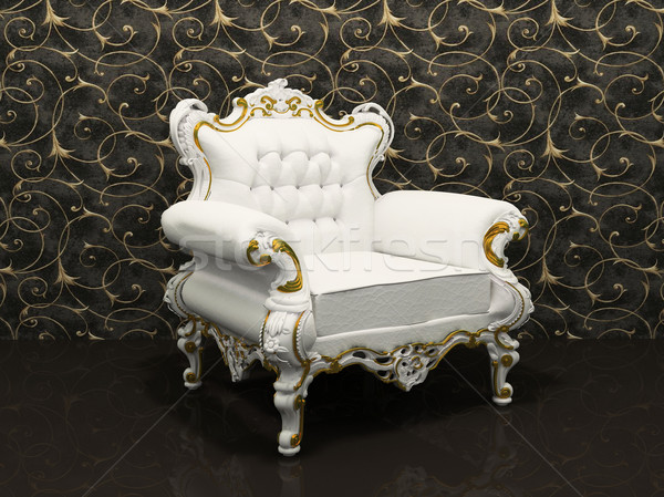 Leather luxury armchair with frame isolated on wallpaper with de Stock photo © Victoria_Andreas