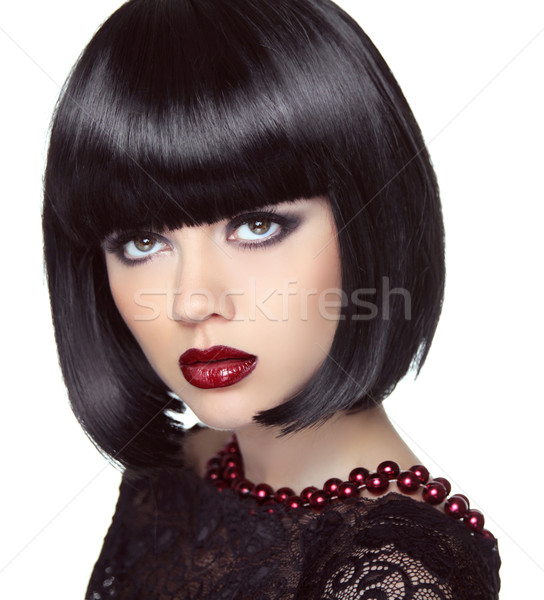 Black short bob hairstyle. Fashion brunette girl model with make Stock photo © Victoria_Andreas