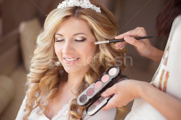 Güzel gülen gelin düğün portre makyaj Stok fotoğraf © Victoria_Andreas