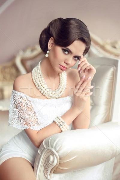 элегантный брюнетка ретро Lady моде Сток-фото © Victoria_Andreas