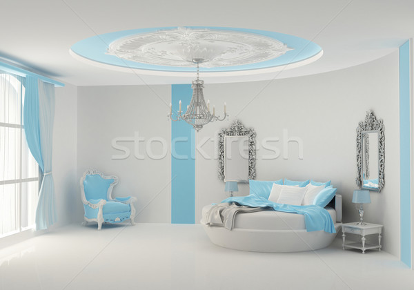 Round bed in baroque bedroom Stock photo © Victoria_Andreas