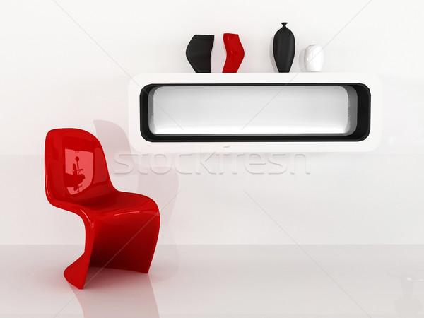 Председатель шельфа минимализм интерьер красный черный Сток-фото © Victoria_Andreas