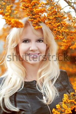 Mooie najaar buitenshuis hand gezicht Stockfoto © Victoria_Andreas