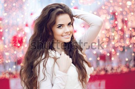 Fairy. Woman with beauty long brown hair. Jewelry and Beauty. Fa Stock photo © Victoria_Andreas