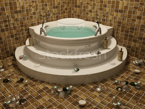 angle Bath with candle in romantic bethroom interior Stock photo © Victoria_Andreas