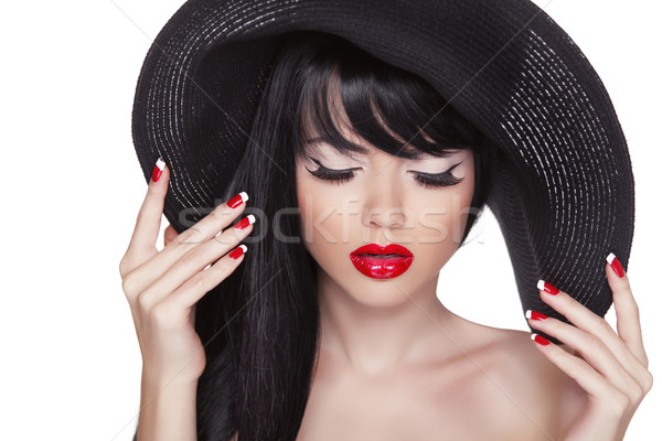 Beauty fashion sexy girl portrait in black hat. Red lips and pol Stock photo © Victoria_Andreas