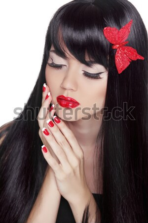 Brunette girl. Bob hairstyle. Makeup. Red Manicured nails. Fashi Stock photo © Victoria_Andreas