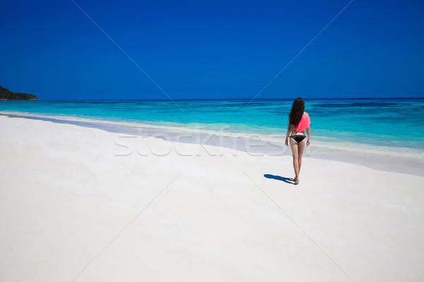 Stock fotó: Szabad · boldog · nő · élvezi · trópusi · tengerpart · lány