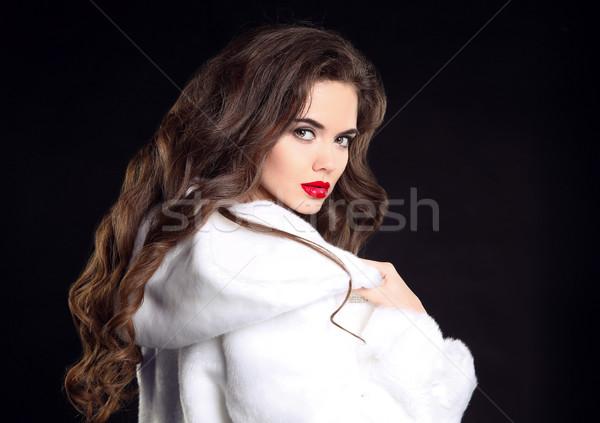 красивой моде брюнетка белый шуба Сток-фото © Victoria_Andreas