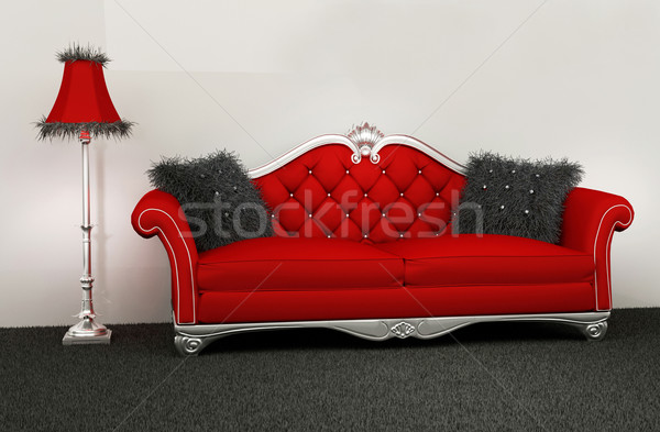 Modern armchair with furry cushions and standard lamp in interio Stock photo © Victoria_Andreas