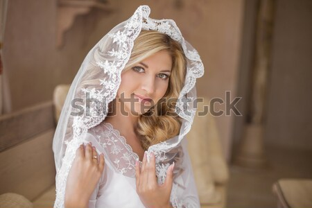Beautiful smiling bride in wedding veil. Beauty portrait. Happy  Stock photo © Victoria_Andreas