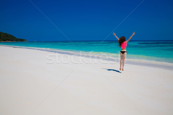 Woman. Happiness bliss freedom beach concept. Enjoyment. Beautif Stock photo © Victoria_Andreas