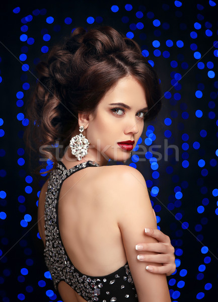 Fashion jewelry. Elegant woman portrait. Gorgeous female with re Stock photo © Victoria_Andreas