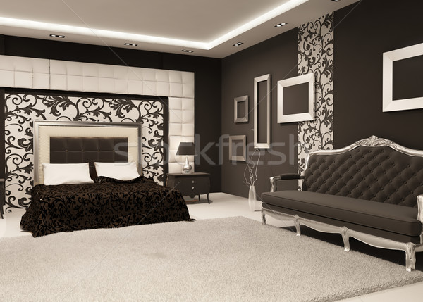 Modern Bed with bedside table and luxurious sofa, Empty frames o Stock photo © Victoria_Andreas
