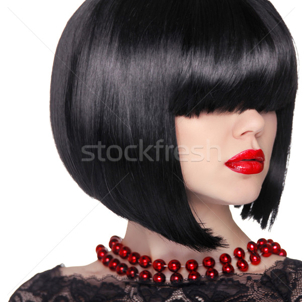 Black short Hairstyle. Brunette woman Portrait. Red lips. Bob ha Stock photo © Victoria_Andreas