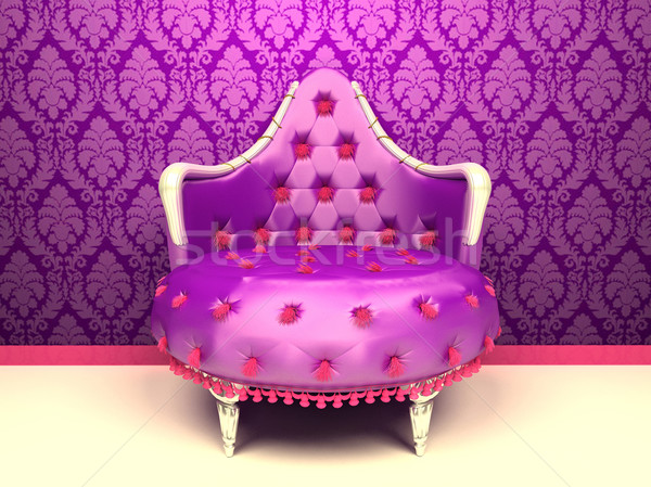 Luxurious armchair isolated on wallpaper with ornament Stock photo © Victoria_Andreas
