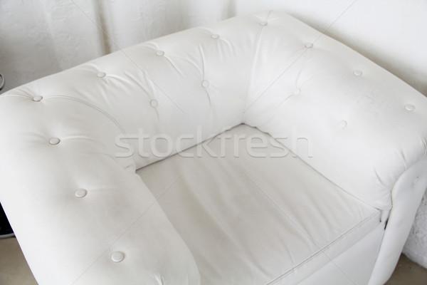 Stok fotoğraf: Modern · beyaz · deri · koltuk · iç · üst