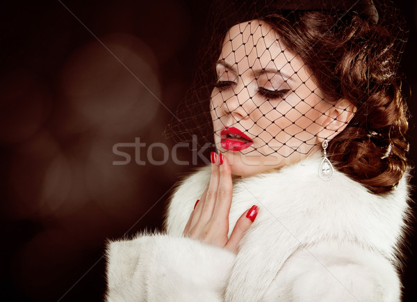 Retro lady portrait. Beautiful Woman in Luxury Fur Coat. Coquett Stock photo © Victoria_Andreas