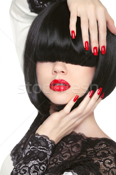 Fashion model. Long Black Fringe. Red sexy lips. Bob Hairstyle.  Stock photo © Victoria_Andreas