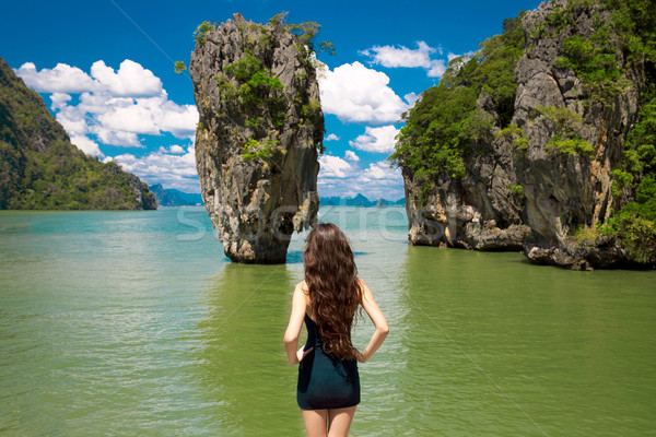 Attractive woman model looking on James Bond Island in Phang Nga Stock photo © Victoria_Andreas