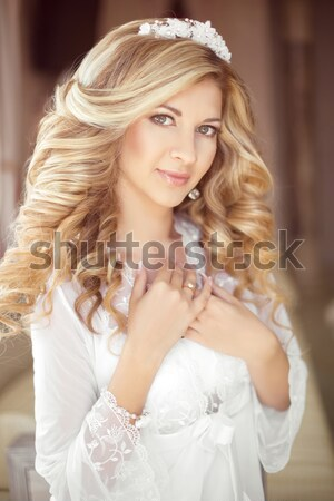 Beautiful blond bride woman portrait posing on baroque armchair  Stock photo © Victoria_Andreas