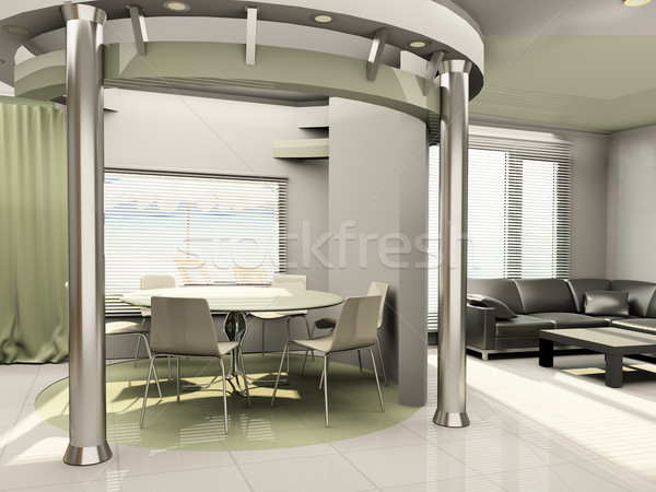 Interior of modern  kitchen with round construction Stock photo © Victoria_Andreas