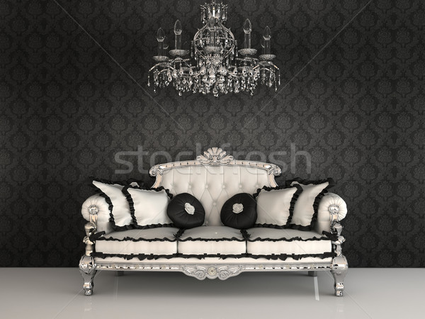 Stock photo: Royal sofa with pillows and chandelier in luxurious interior wit
