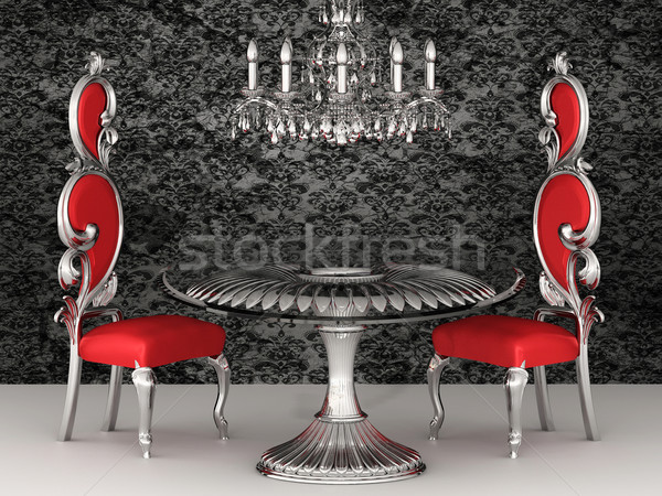 Baroque chairs. Royal interior. Wallpaper. Stock photo © Victoria_Andreas