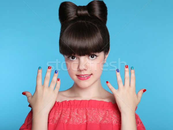 Beauty fashion happy smiling teen girl with funny bow hairstyle  Stock photo © Victoria_Andreas