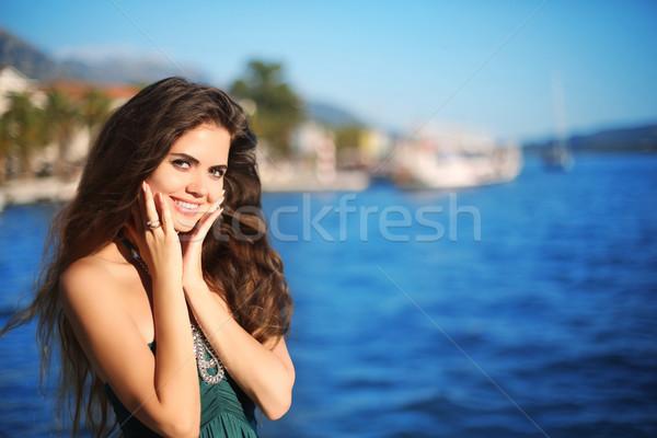 Zdjęcia stock: Portret · szczęśliwy · uśmiechnięty · brunetka · kobieta · długo