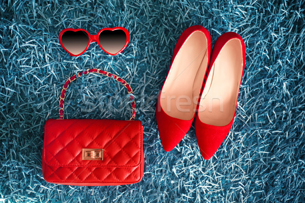 Women clothes and accessories. Red Shoes and leather handbag. Fa Stock photo © Victoria_Andreas