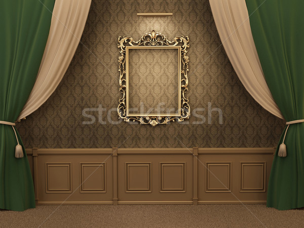 Stockfoto: Galerij · interieur · lege · frames · muur · frame