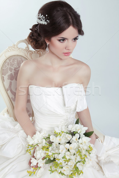 Beauty Portrait of bride wearing in wedding dress with voluminou Stock photo © Victoria_Andreas