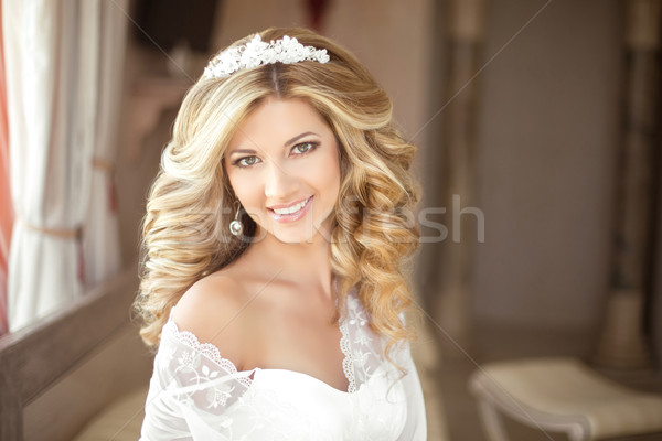Makeup. Beautiful smiling Bride wedding Portrait with wedding ha Stock photo © Victoria_Andreas