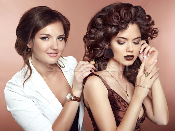 Stockfoto: Haren · schoonheid · make · mooie · twee · brunette