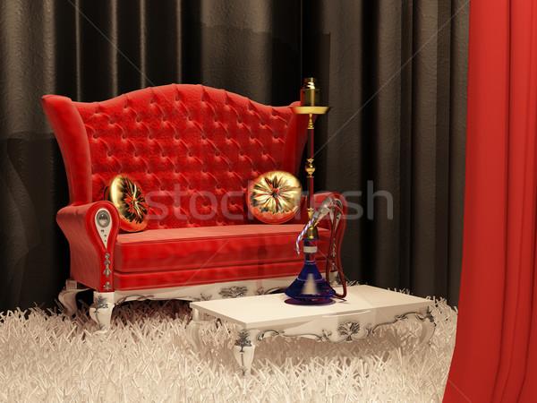 Sofa kussen hookah interieur stijl frame Stockfoto © Victoria_Andreas