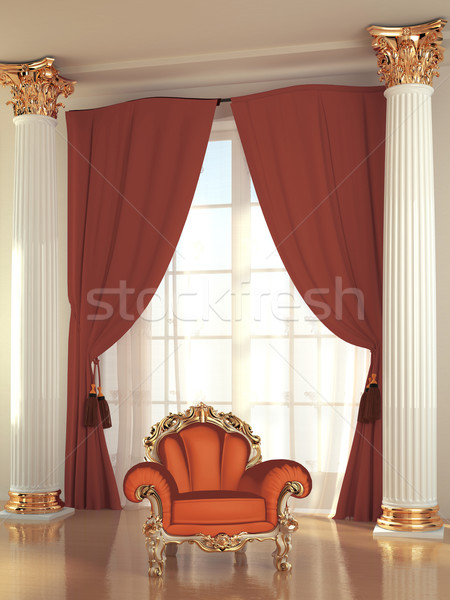 Stock photo: Modern armchair in royal interior residence