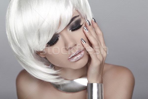 White Short Hair. Eye makeup. Fashion Blond Girl. Beauty Portrai Stock photo © Victoria_Andreas