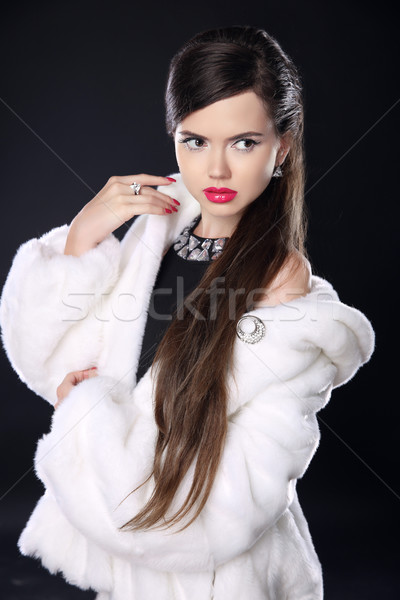 Fashion elegant woman in fur coat, Beautiful Brunette with red l Stock photo © Victoria_Andreas