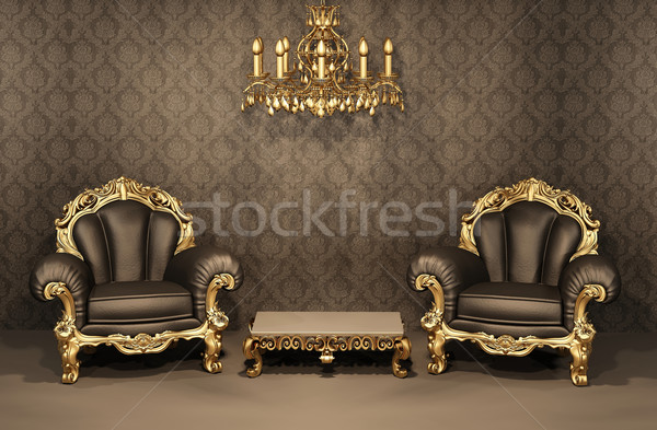 Armchairs with gold frame in old interior. Luxurious furniture.  Stock photo © Victoria_Andreas